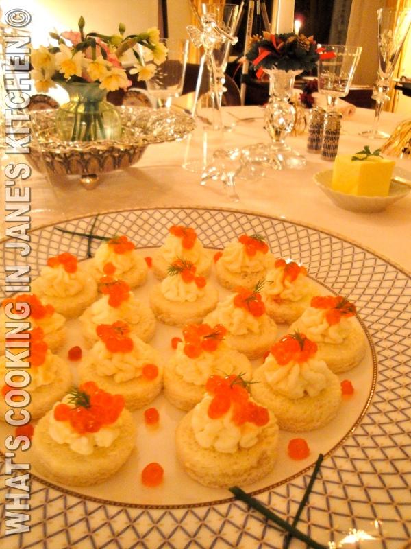 Salmon Caviar Canapés
