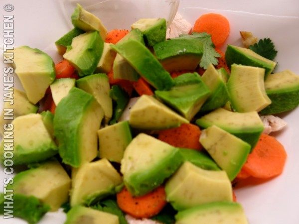 Avocado, Boccoli, Asparegus , Carrot and Chicken Salad ©