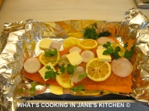 Canadian or Scottish Fresh Salmon cooked In A Papillote With Parsley Sauce ©