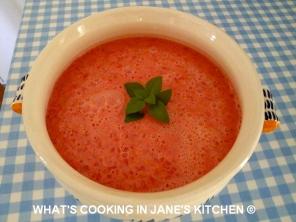 Cold Tomato Yogurt and Basil Soup ©
