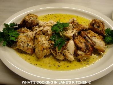 Roast Chicken, Lemon Potatoes and Cream Lemon Tarragon Sauce ©