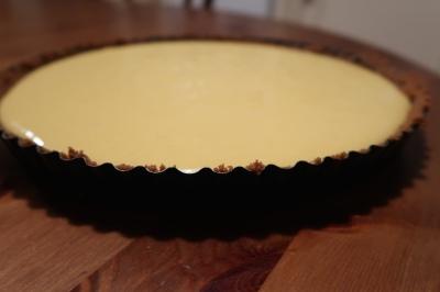 Pour mixture into tart case.